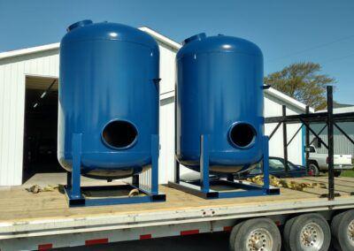 Powder Coating blue tanks