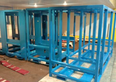 Powder coating blue frames